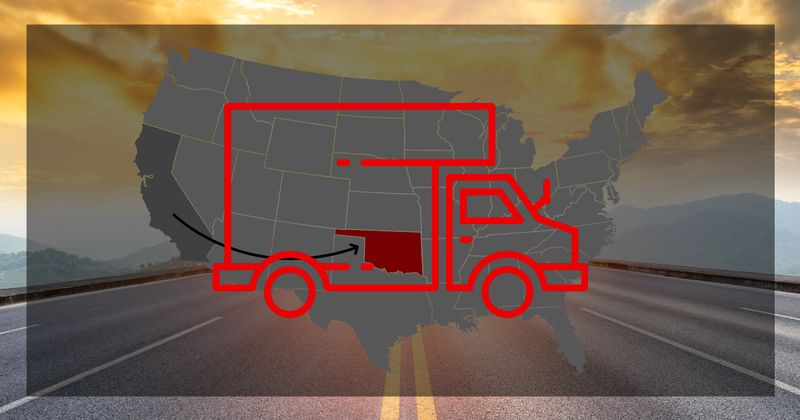 Moving to Oklahoma from California map overlay