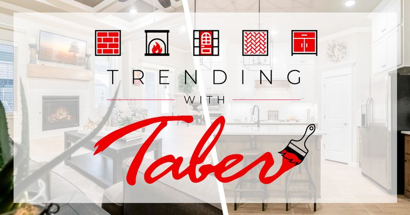 photo of a living room on the left and kitchen on the right with the trending with taber logo in the foreground