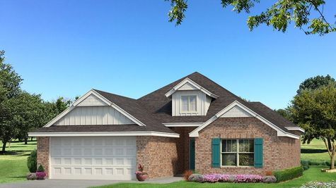 Homes by Taber Hunter Brick Elevation - Pop of Color