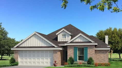 Homes by Taber A Brick Elevation - Pop of Color