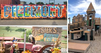 Piedmont Sign, Chesters Pumpking Patch sign, playground in Piedmont community.