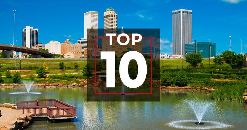 Tulsa city sky line with TOP 10 graphic overlaid.