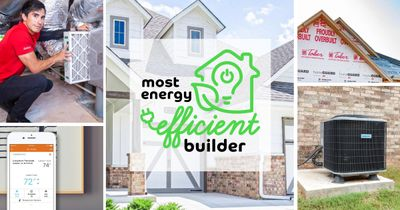 A collage of images. Top left: a man changing the air filter on a home HVAC system. Bottom left: An app on a phone with energy ratings on it. Middle: A Taber home with energy efficiency logo overlaid. Top right: Homes by Taber insulation going in a home. Bottom right: an AC unit outside of a home.