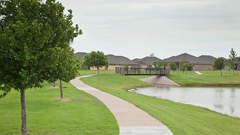 Photo of the green trails around our new homes in Edmond OK from Ideal Homes