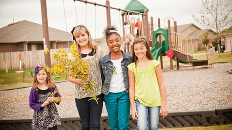 Children in Trail Woods, a community of Norman OK new homes from Ideal Homes