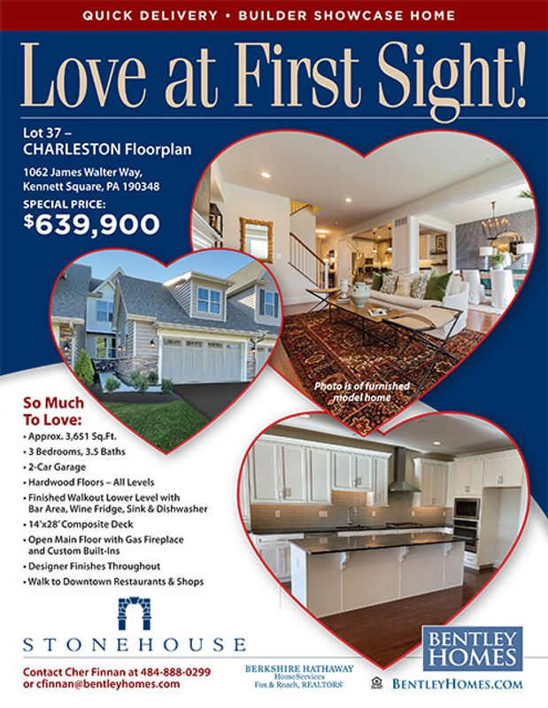 flyer for quick move-in home at Stonehouse in Kennett Square, PA