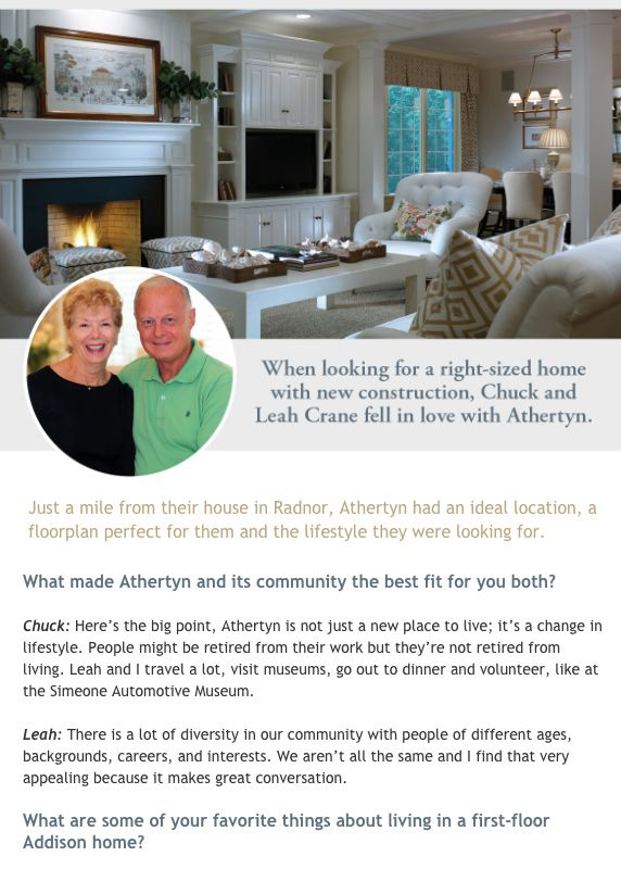 neutral living room at new construction 55+ Athertyn interview with homeowners