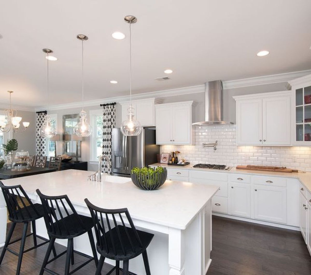 New home kitchen with white subway tile