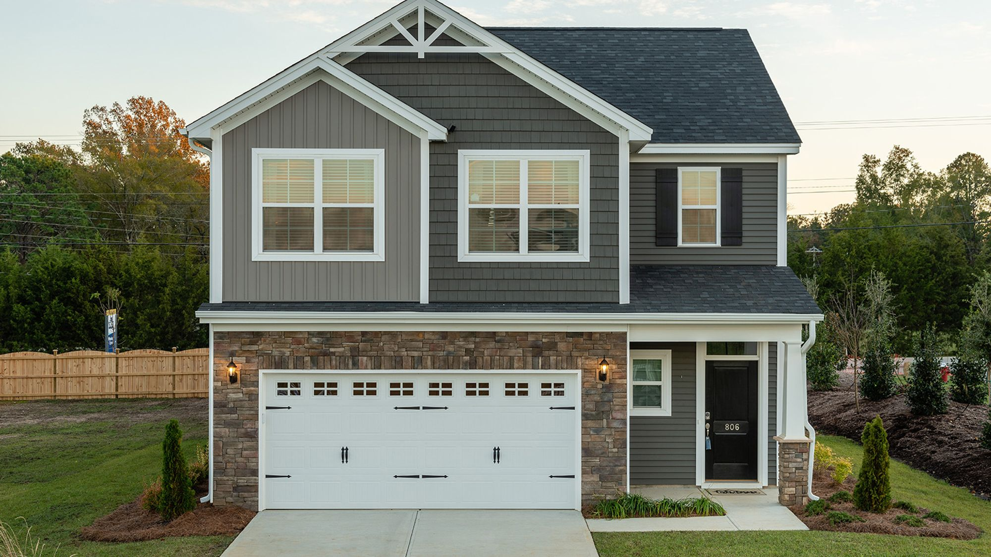 New home in Franklinton, NC, with gray exterior