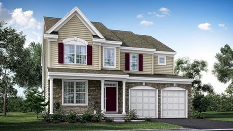 The Ashton Grand model new home in South Jersey , 2 stories with tan siding and stone front, maroon shutters, plus front veranda.