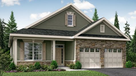 Illustrated Primrose Veranda model new home for active adults with siding and stone facade, front veranda with columns, and shutters.