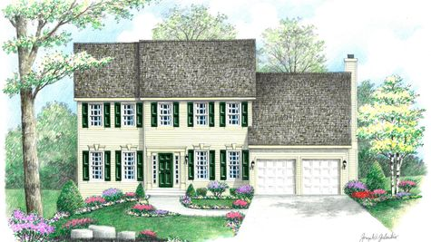 The Wexford Traditional model new home in NJ illustrated with straight roofline, pale yellow siding, green shutters & door.