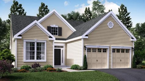 One Story Magnolia Cottage one story ranch new home in South Jersey with cream colored siding, colonial trim, transom & sidelights around door, 2 car garage.