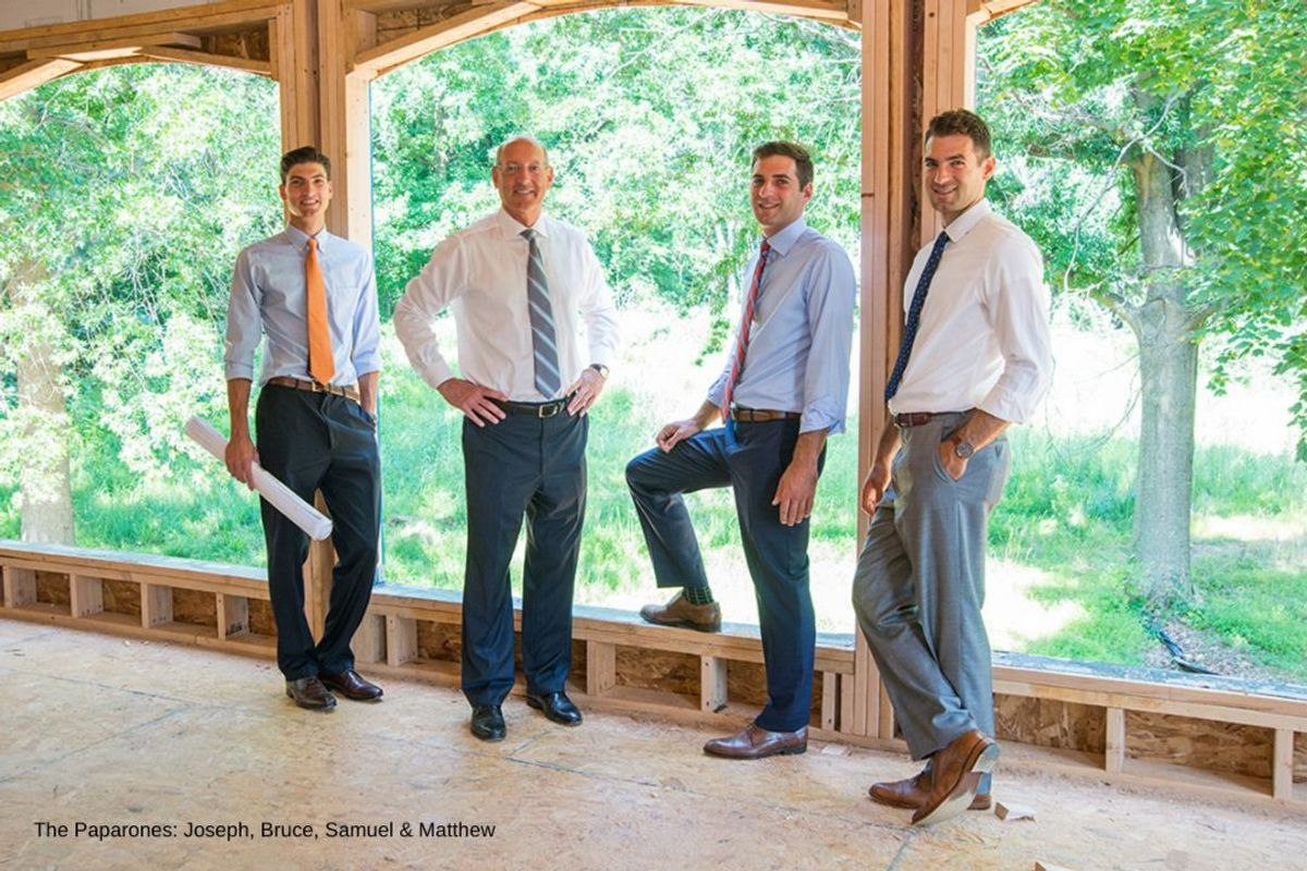 Bruce Paparone with his sons Joseph, Samuel & Matthew inside a Southern New Jersey new home under construction