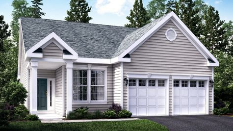 The Jasmine Cottage model home illustrated with pale gray siding,  2 white columns at entrance, peak roof, one story home, 2 garages.