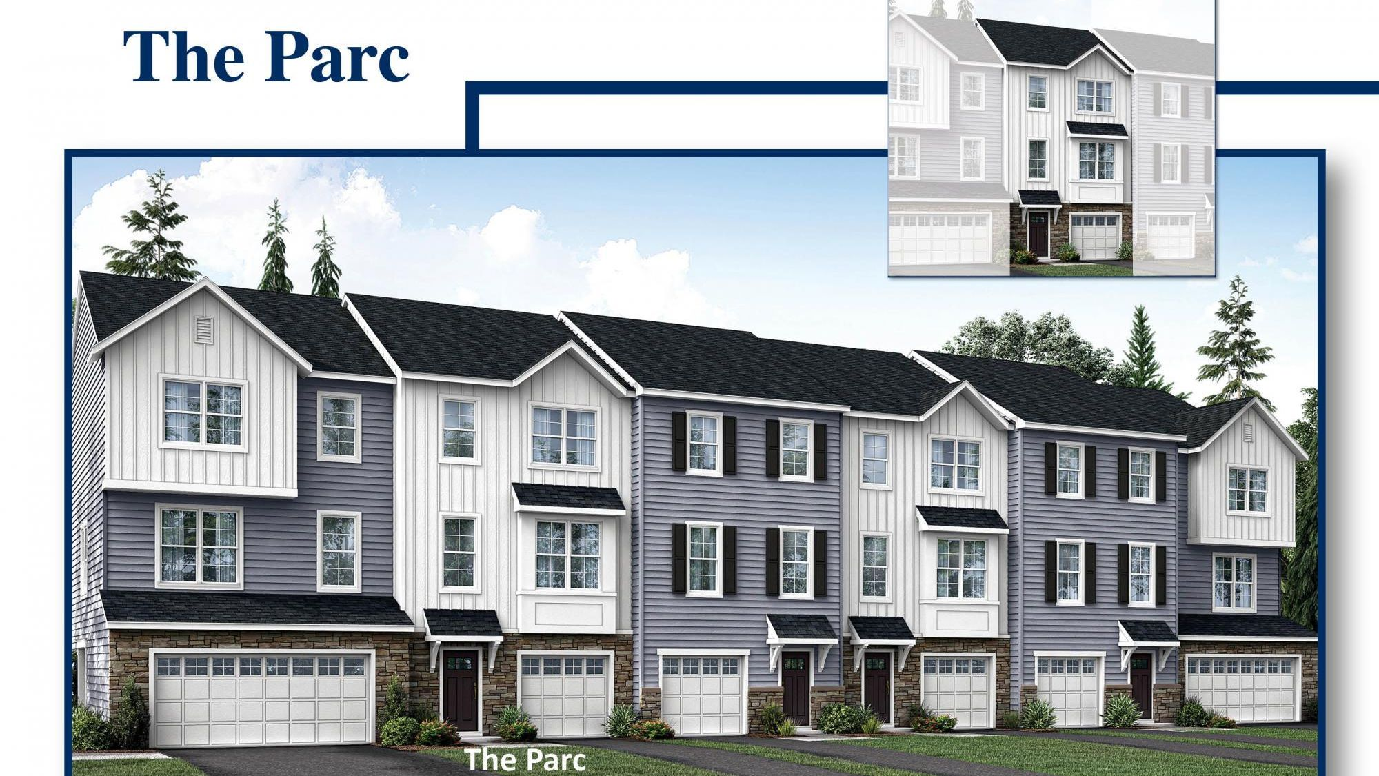 Exterior of the The Parc model new townhome in south Jersey, illustrated with 1 car garage, siding, plus stone on first floor facade.