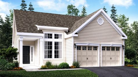 Hawthorn Manor model home for age 55+ in south Jersey, illustrated with cream siding, extra tall front window, white trim, one story ranch style. .