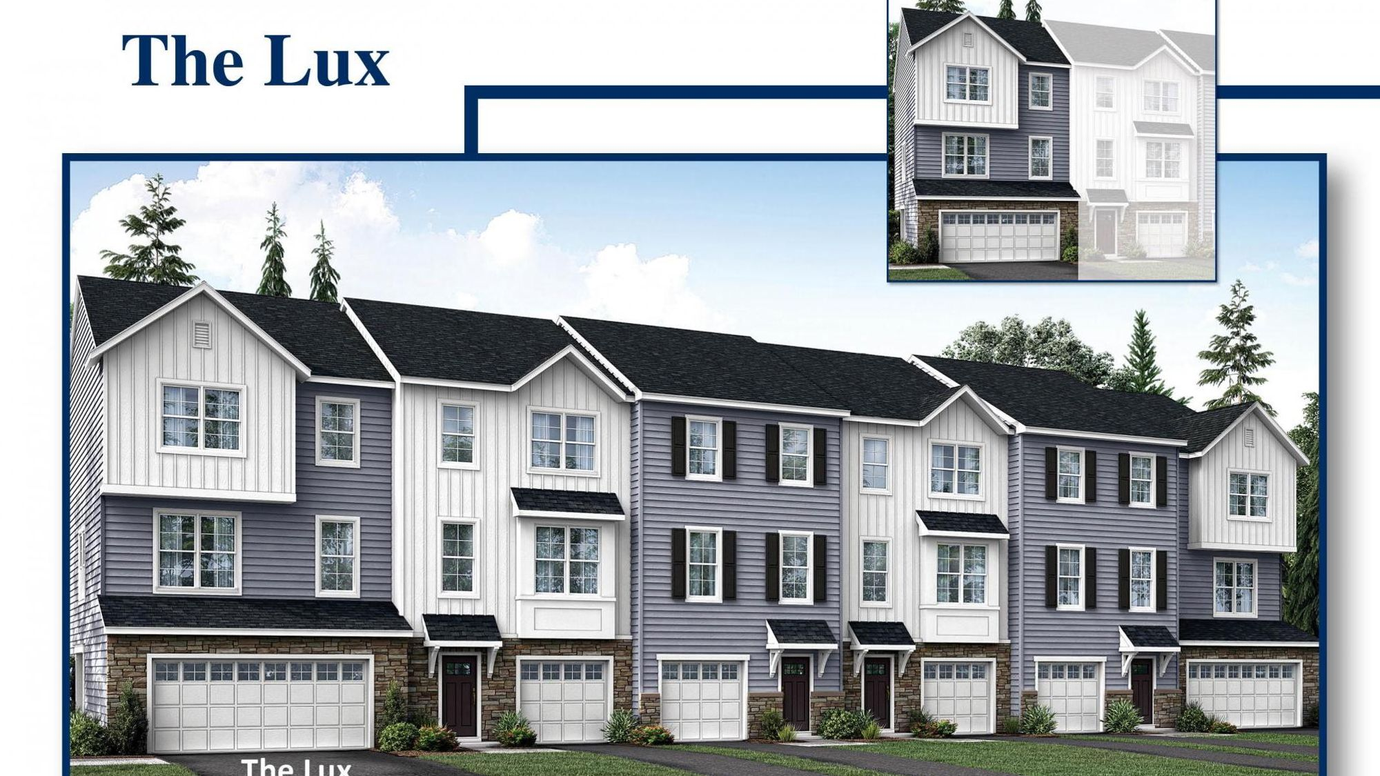 Large New Townhome in South Jersey with two car garage, end unit, stone accents, gray siding, plus white siding.