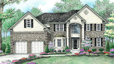 Stoneleigh Traditional new home in NJ illustrated with brick facade, soaring 2+ story columns, palladian window, dark shutters, peaked roof line.