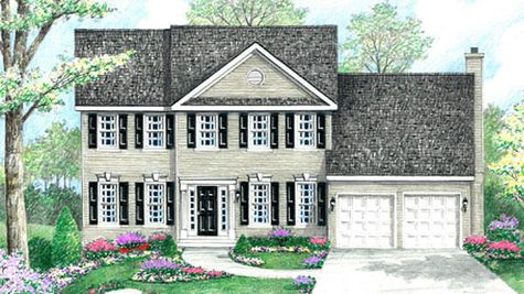 The Wexford Federal model new home in NJ illustrated with cream siding, black shutters, keystone trim over windows, central peak on roof.