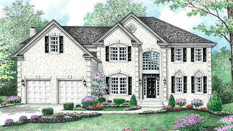 Luxury new home in NJ, the Stoneleigh Provincial model, illustrated with cream stucco, dark shutters, palladian window, quoins.