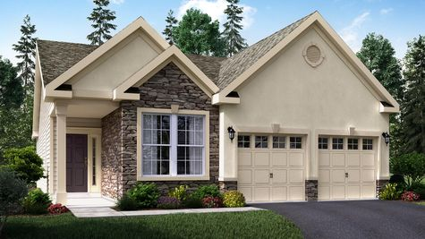 The Hawthorn Villa model home illustrated with cream stucco, stone facade around front window, muti-peak roof line, one story home, 2 garages.