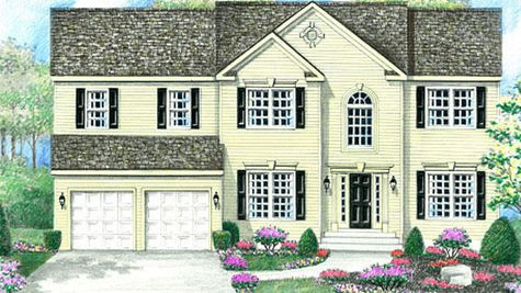 The Baldwin Grand model new home in south New Jersey has classic colonial design with cream siding, dark shutters, colonial trim and a palladian window.