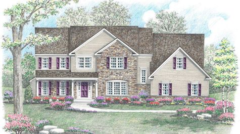 The luxurious Brandywine Veranda model home with peak roofs, stone & siding front, veranda front entrance.