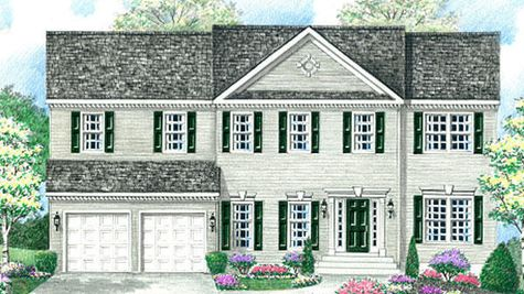 Illustrated exterior of the Baldwin Federal II model new home in South Jersey  with colonial trim, all square windows and a central peak on the roof.
