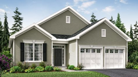 The 1 story Primrose Cottage model home for age 55+ illustrated with light green siding, colonial keystone front window.