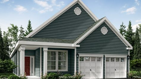 The Jasmine model home illustrated with gray siding, red front door, 2 white columns, peak roof, one story home, 2 garages.