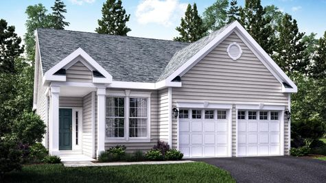The Hawthorn Cottage model home illustrated with pale gray siding,  2 white columns at entrance, peak roof, one story home, 2 garages.