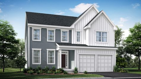 The Oakton Manor new home in NJ illustrated with gray siding, plus white siding accents around & over garage & on roof peaks.