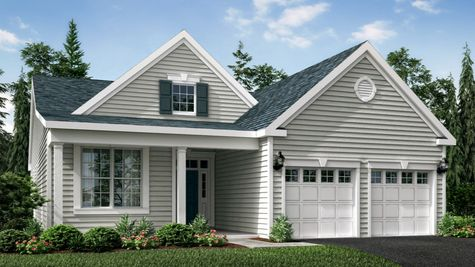 The Marigold Veranda model new active adult home, one story ranch style, illustrated with front veranda, two columns, pale siding.