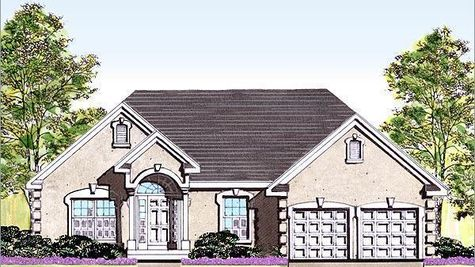 The Avignon Grand new home in South Jersey, a luxurious one story ranch style home, built with cream stucco exterior. cornice corners.