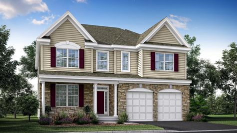Oakton Grand model new home in NJ illustrated with tan siding & stone facade, maroon shutters, double peak roofline, veranda, 2 garages.