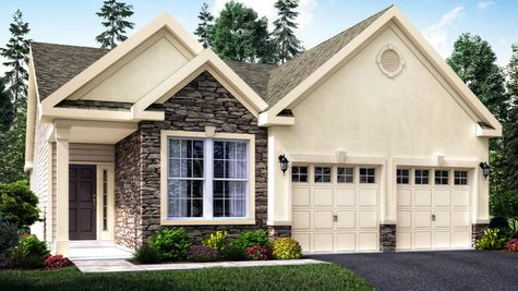 The Jasmine Villa model home illustrated with cream stucco, stone facade around front window, muti-peak roof line, one story home, 2 garages.