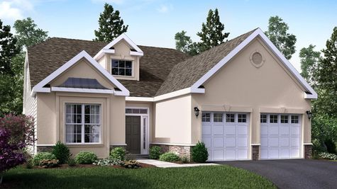 The Marigold Villa model design, one story ranch new home, illustrated with tan stucco, decorative trim around front window, two car garage.