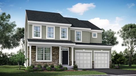 Illustration of Ashton Traditional model new home in south NJ, 2 stories with siding, stone accents on front, veranda with columns, 2 car garage.
