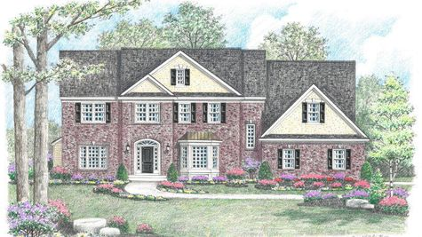 Illustration of the Brandywine Traditional new home with brick exterior, shutters, glass sidelights and burst surrounding front door.
