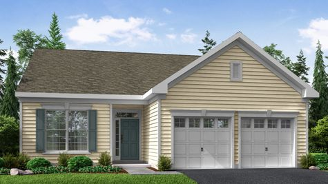 Illustration of the Zinnia Cottage style new home for 55+ active adults in NJ with yellow siding and 2 car garage.