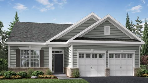 Illustration of the Zinnia Manor model new home in South Jersey, for active adults, with light gray siding, shutters and colonial trim..