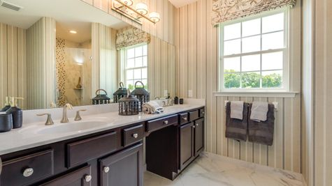 Hawthorn Master Bathroom with large double sink vanity.