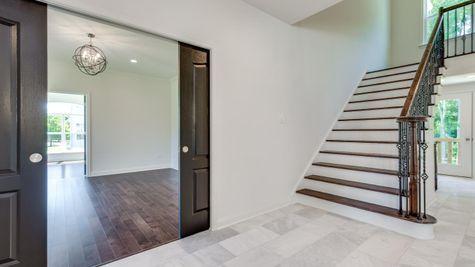 Brandywine stairs, pocket doors to dining room