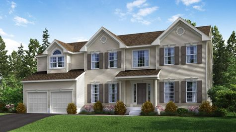 The Oxford Manor new home model illustrated with cream siding, tan shutters, portico over front door, 3 peaks on roof, 2 car garage.