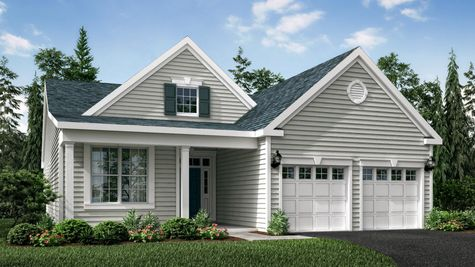 The Magnolia Veranda model new one story ranch style, illustrated with front veranda, two columns, pale siding.