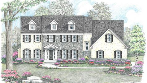 Illustration of the Brandywine Manor new home in South Jersey with stone & stucco front, colonial trim, arched portico over door.