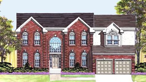 The Baldwin Georgian model new home is a large, classic, brick front home with a palladian window over the front door.