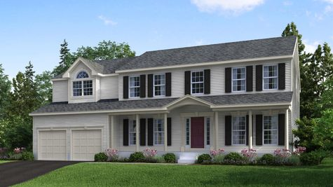 The Oxford Veranda model new home illustrated with front veranda, cream siding, black shutters, red door, 2 car garage.