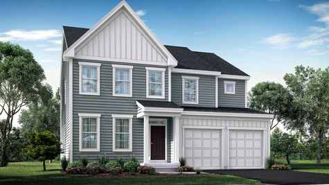 The Ashton Manor model new home, illustration, 2 stories, with gray siding, peak roofline left side of house, front door with portico.